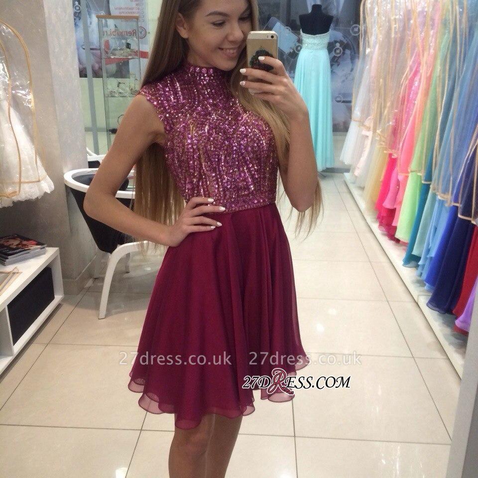 Mini High-Collar Crystal Beading Cute Sleeveless Homecoming Dress UKes UK BA3852