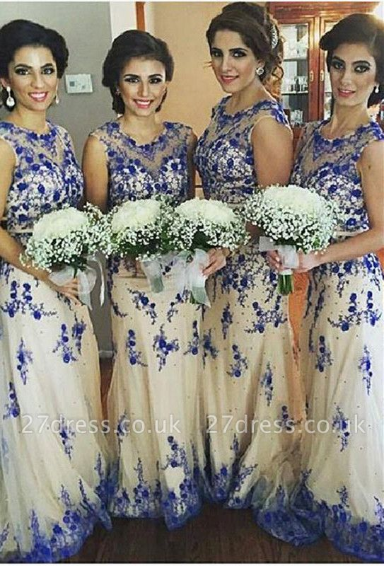 Newest Lace Appliques Illusion Bridesmaid Dress UK Sweep Train