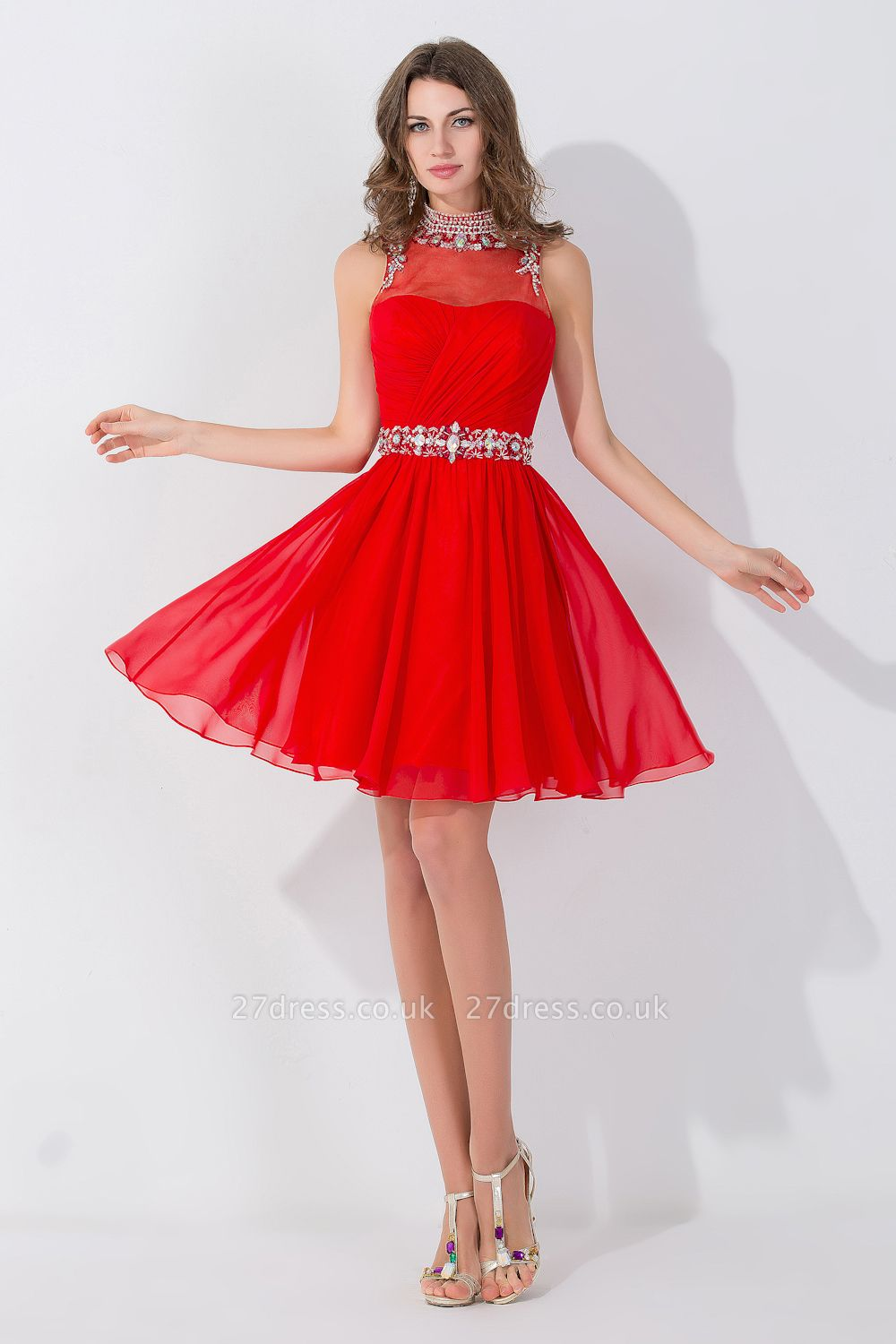 Sexy Sleeveless Red Chiffon homecoming Dress UK High Neck With Beadings Crystals