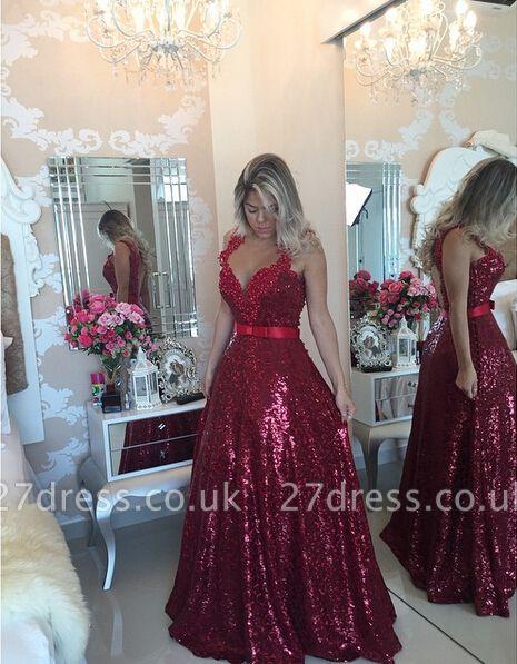 Gorgeous Lace Appliques A-line Prom Dress UK Sequins Beadings