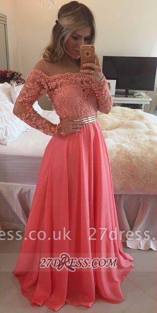 Sexy A-line Long Sleeve Chiffon Prom Dress UK Crysal Lace Appliques Floor-length Evening Dress UK