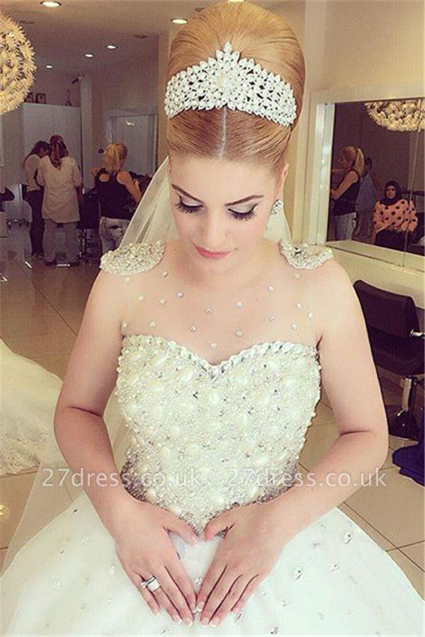 Elegant Beads Tulle Wedding Dress Ball Gown Floor-length MH052