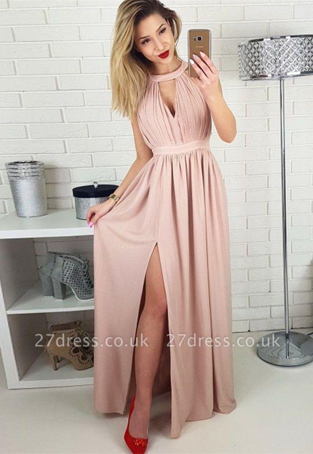 Sexy Sleeveless Prom Dress UK | Long Chiffon Evening Gowns With Slit BA9622