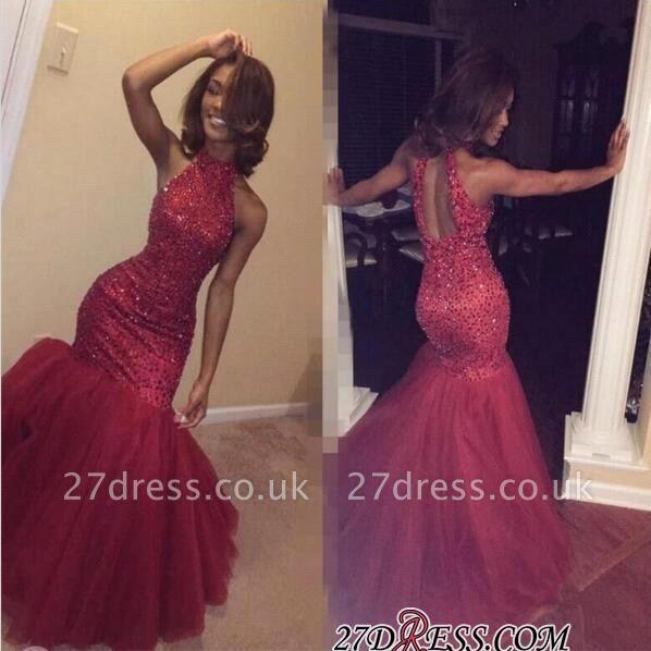 Elegant Sleeveless Halter Sparkly Mermaid Beading Tulle Sequined Open-Back Prom Dress UK BK0