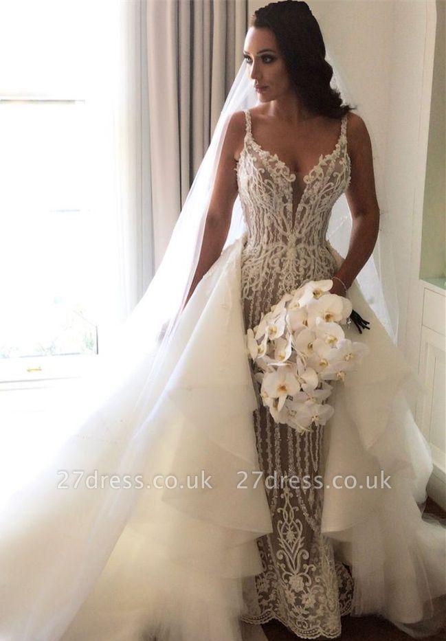 Gorgeous Lace Sexy Mermaid Wedding Dresses UK Cheap with Detachable Train Straps Sleeveless Bride Dress