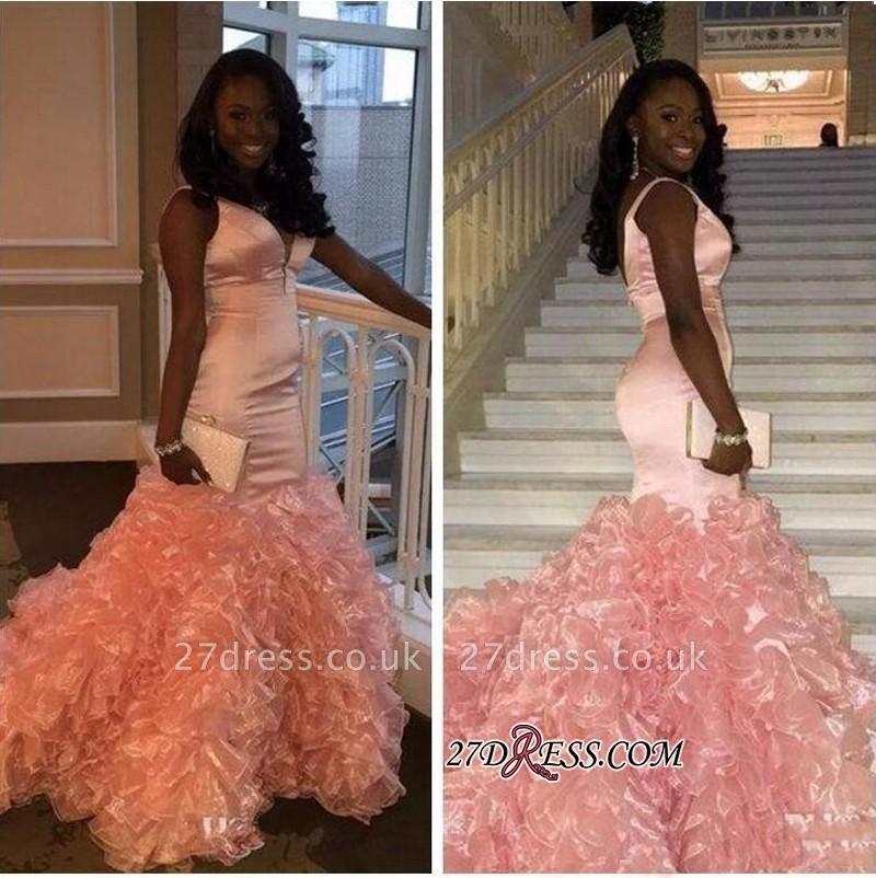 Mermaid V-neck Pink Ruffles Gorgeous Sleeveless Prom Dress UK BK0