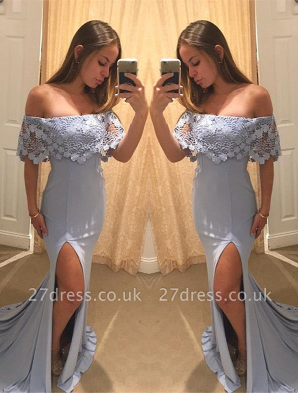 Sexy Off the Shoulder Ruffle Evening Dress UK Lace Mermaid Long With Split