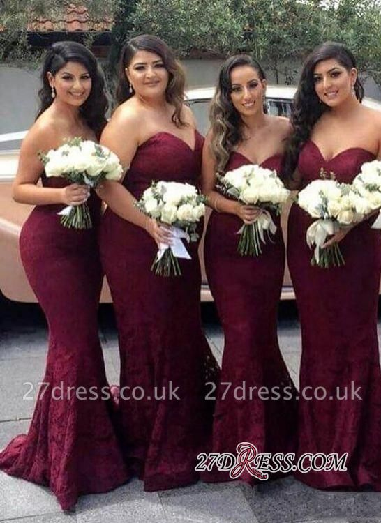 Lace Mermaid Burgundy Sweetheart-Neck Long Bridesmaid Dress UK LY194