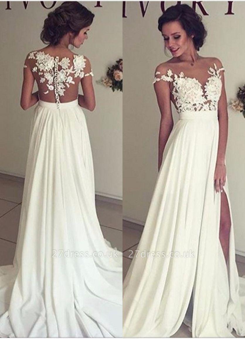 Elegant Lace Appliques Wedding Dress Long  Split