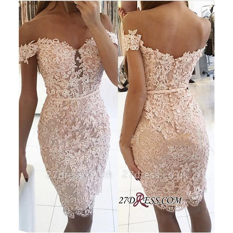 Buttons Lace Off-the-Shoulder Elegant Short Tight Homecoming Dress UK BA6358
