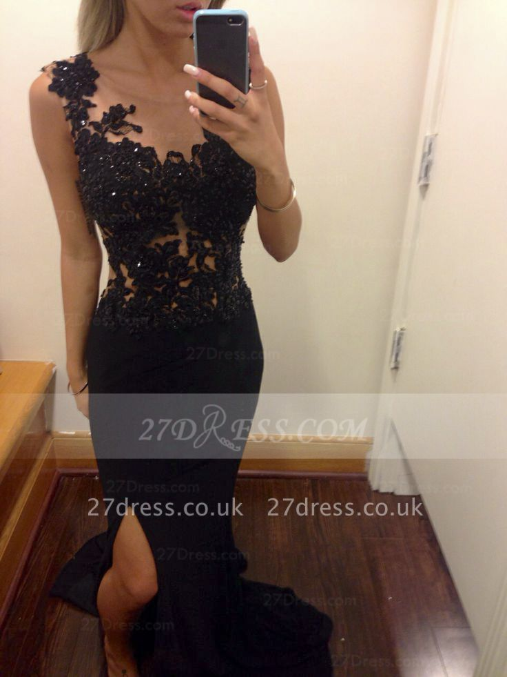 Appliques Train Prom Dress UKes UK Evening Gowns Black Scoop Sleeveless Sequins Mermaid Side Slit Sweep