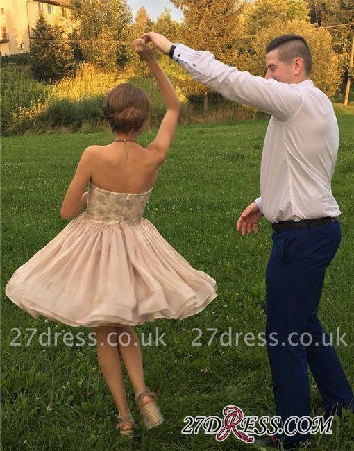 Hot Champagne Strapless A-line Cute Zipper Short Homecoming Dress UK