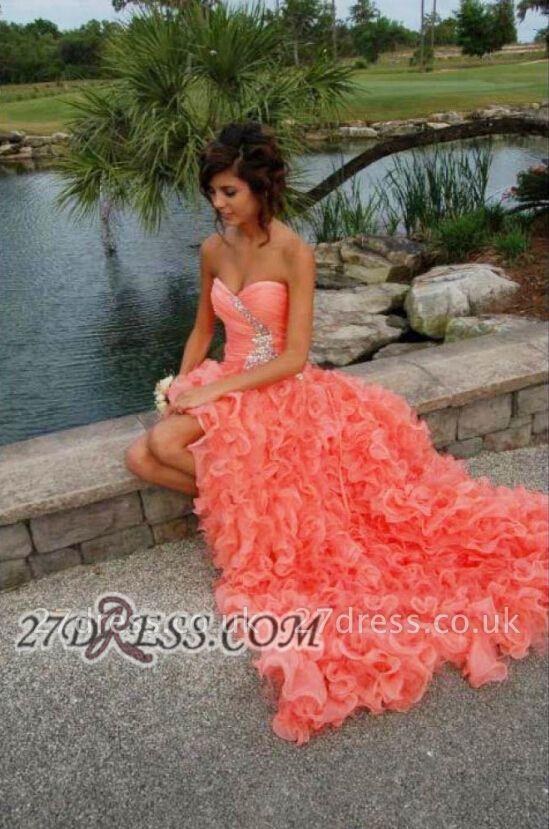 Modern Sweetheart Sleeveless Hi-Lo Prom Dress UK Beadings Lace-up Ruffles Evening Gown
