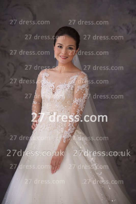 A-line Lace Sequins Beadss Wedding Dresses UK Appliques Vintage Tulle Sheer Cheap Bridal Gowns with Long Sleeves