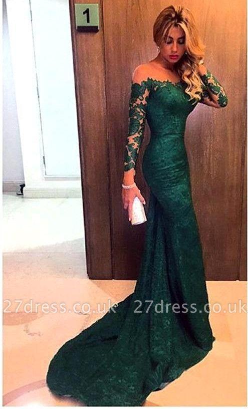 Luxury Off-the-Shoulder Long Sleeve Mermaid Prom Dress UK Lace Sweep Train