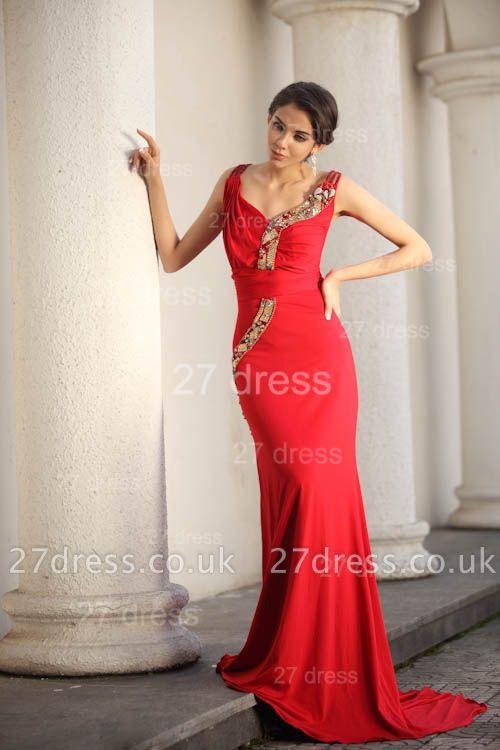 Elegant Red V-Neck Prom Gowns Ruffles Sweep Train Evening Dress UKes UK with Beadings