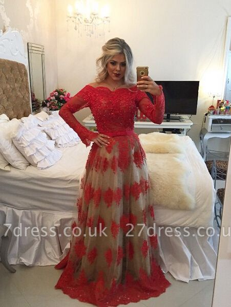 Modern Off-the-shoulder Red Prom Dress UK Lace Long Sleeve BA8928