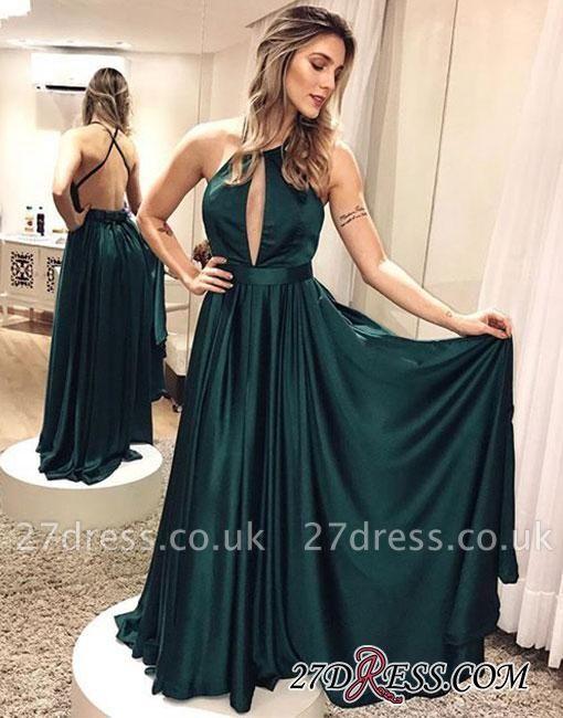 Dark-green Sexy Backless Cross-criss Simple Formal Dress UK