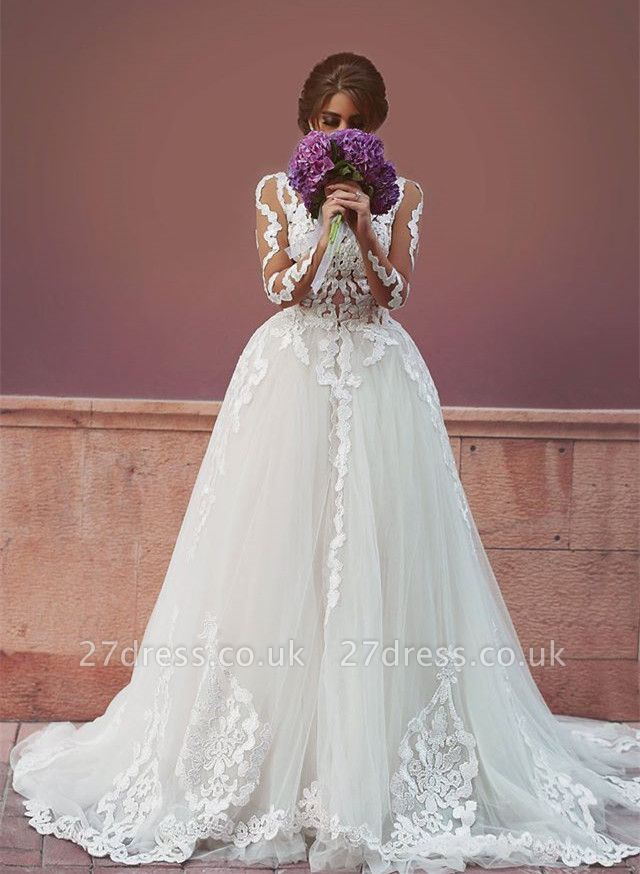 Delicate Tulle Lace Appliques Detached Wedding Dress Long Sleeve MH053