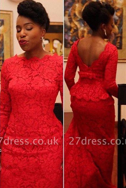 Elegant Red Lace Evening Dress UK Long On Sale