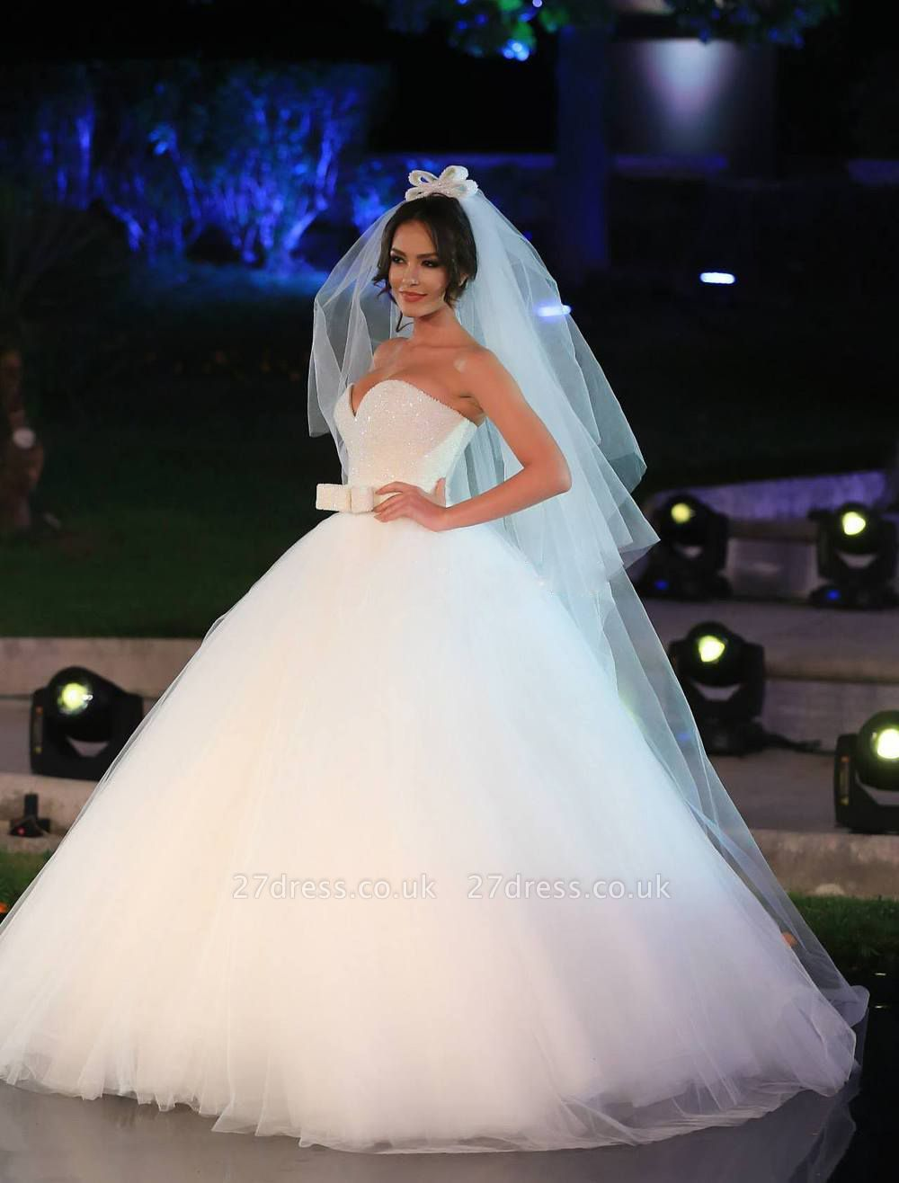 V-neck Tulle Sequins Wedding Dress Ball Gown Bowknot
