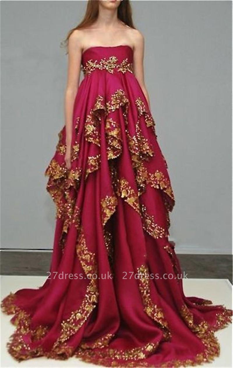 Delicate Burgundy Lace Appliques Evening Dress UK Ruffles Strapless