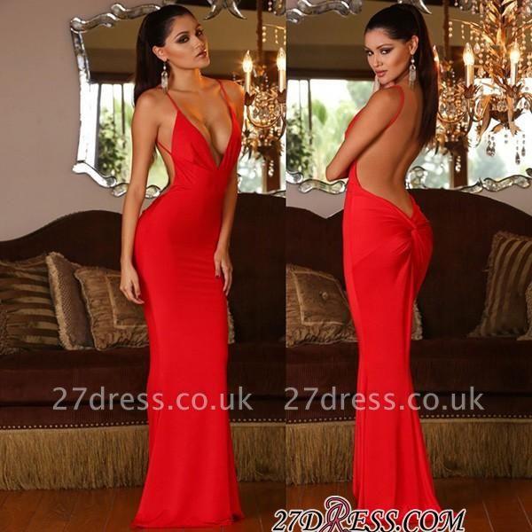 Mermaid Red Elegant V-neck Open-Back Sleeveless Prom Dress UK