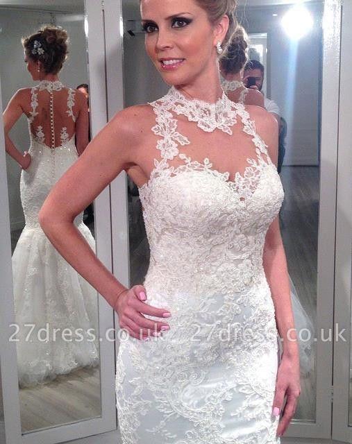 Fashion Sleeveless Lace Wedding Dresses UK Sexy Mermaid Tulle Princess