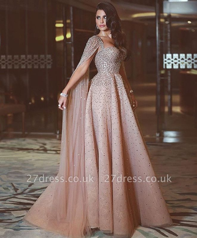 Luxurious Ruffles Crystal Evening Dress UK Sweetheart Long Party Gowns