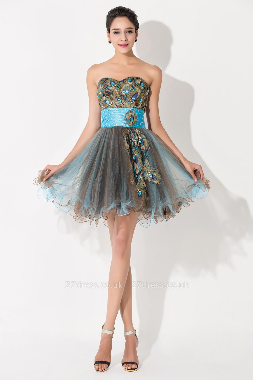 Modern Sweetheart Sleeveless Tulle Homecoming Dress UK With Peacock Beadings Crystals