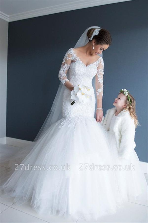 Elegant Long Sleeve Appliques Wedding Dress Tulle Sexy Mermaid On Sale