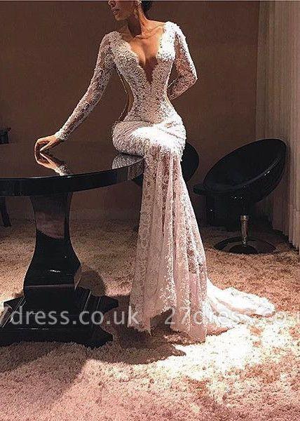 Modern Lace Long Sleeve V-neck Evening Gown   Evening Dress UK