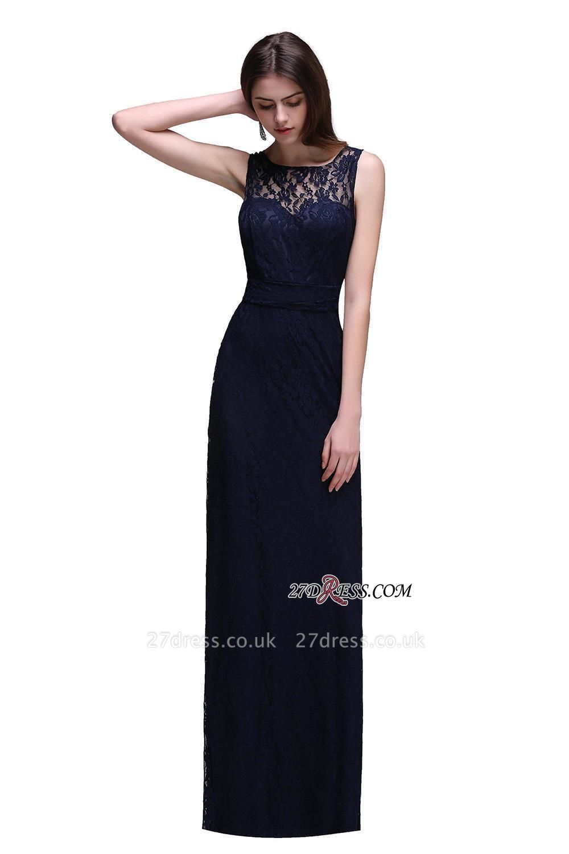 Lace Sleeveless Floor-Length Dark-Navy Sheath Evening Gowns