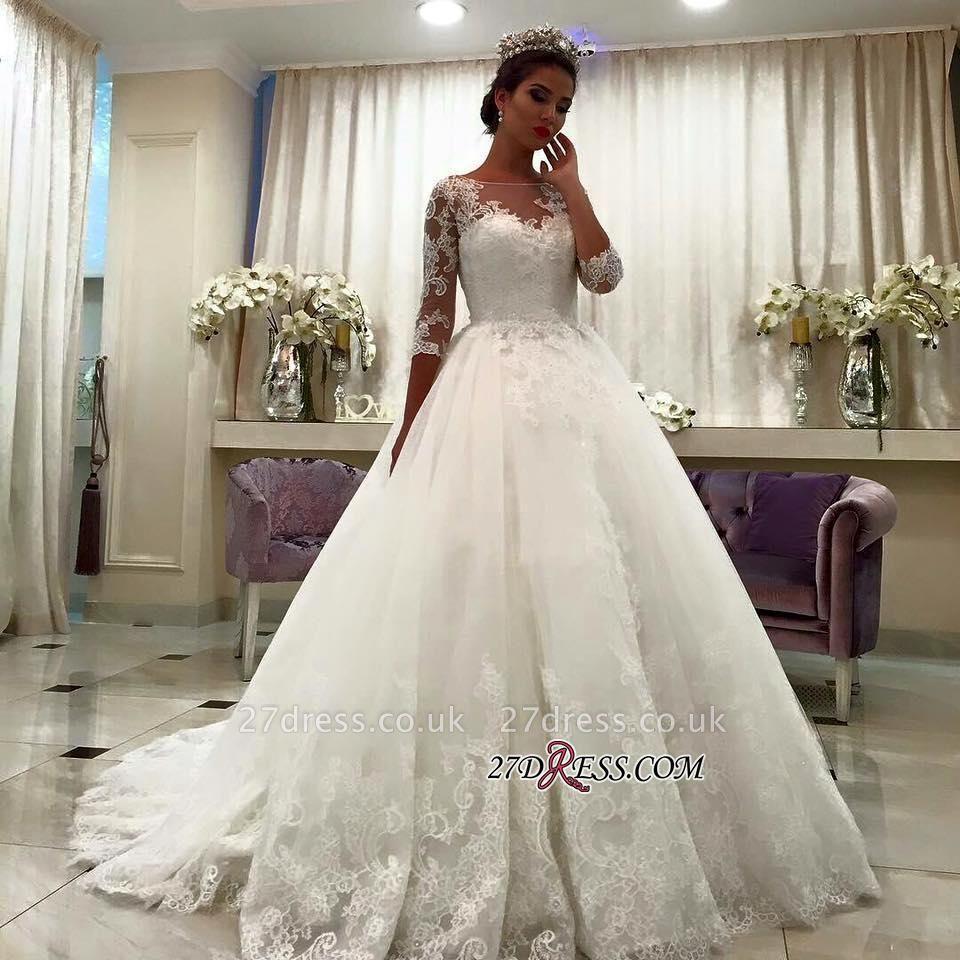 Appliques Chapel-Train Lace Ball-Gown Half-Sleeve Bateau Wedding Dresses UK BA6591