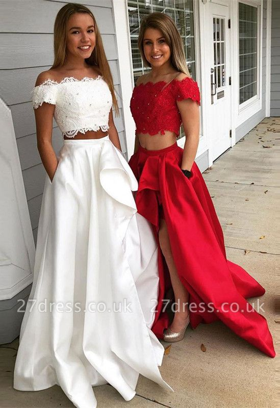 Two Pieces Lace Prom Dress UK | Evening Gowns With Slit