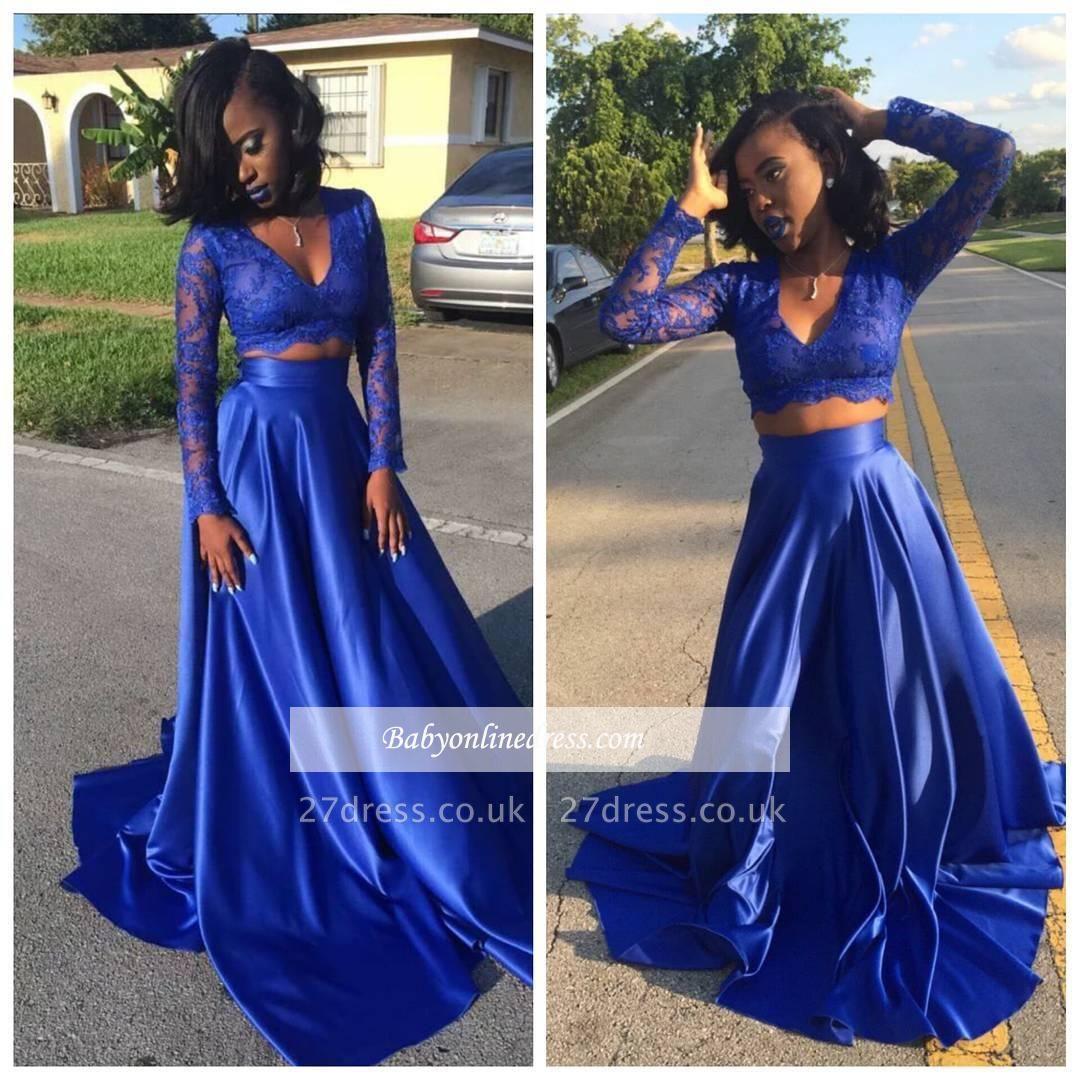 V-neck Royal-Blue Long-Sleeve Lace Two-Piece Prom Dress UK BA5258 BK0