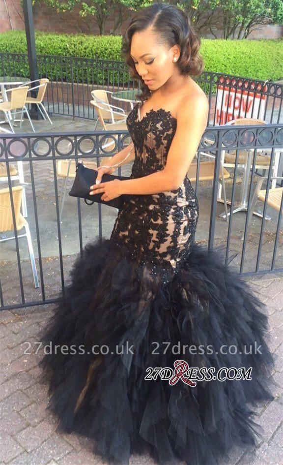 Puffy Mermaid Sleeveless Lace Ruffles Tulle Appliques Sweetheart Black Ptom Dress UK BA5179