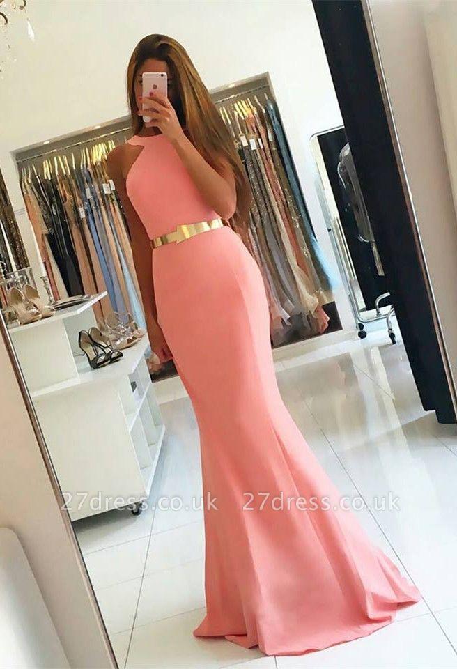 Sexy Halter Mermaid Evening Dress UK long With Golden Sash BA7094
