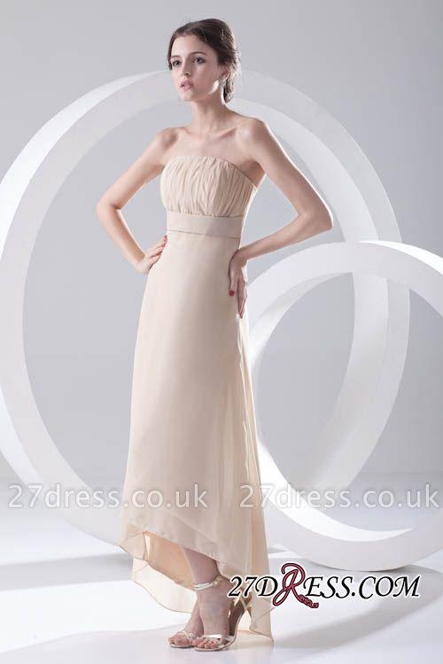 Strapless Sexy Sleeveless Hi-lo Light-Champagne Chiffon Sheath Bridesmaid Dress UKes UK