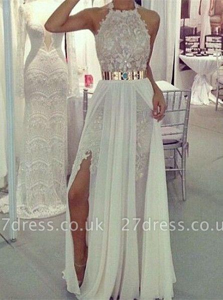 Sexy High-neck Appliques Long Chiffon Prom Dress UKes UK Golden Sasht Front Split