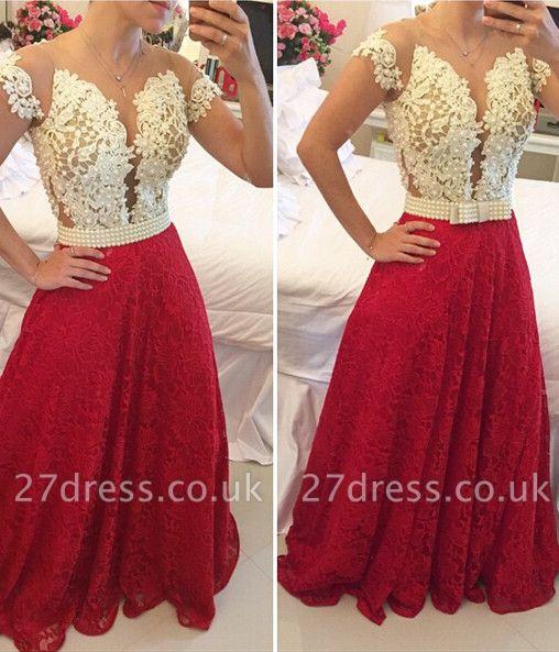 Elegant A-line Lace Appliques Prom Dress UK Pearls Cap Sleeve BT0