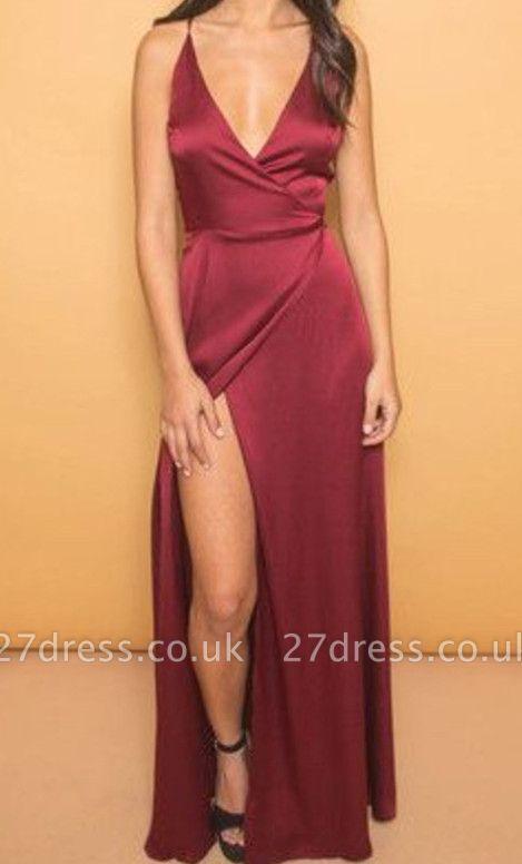 Elegant V-neck A-line Spaghetti Strap Prom Dress UK Front Split