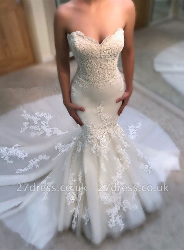 Gorgeous Sweetheart Lace Wedding Dress   2019 Sexy Mermaid Bridal Gowns BA9780