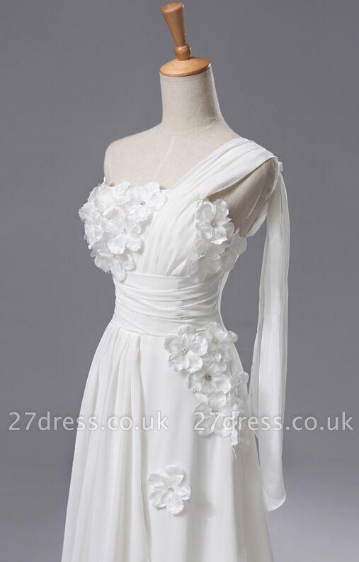 Newest One Shoulder Flowers Wedding Dress A-line