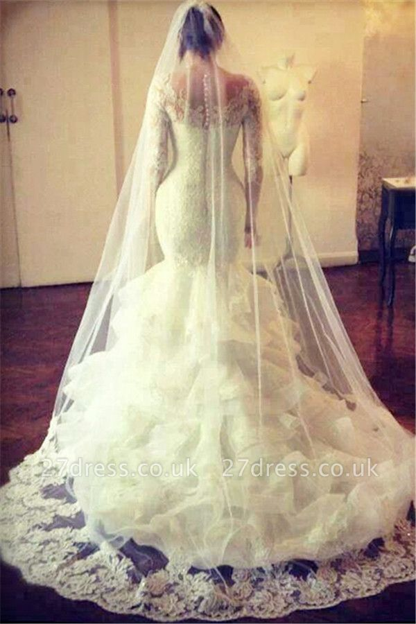 Gorgeous Wedding Dresses UK Lace  Sexy Mermaid Long Sleeve Bridal Gowns with Wedding Veil