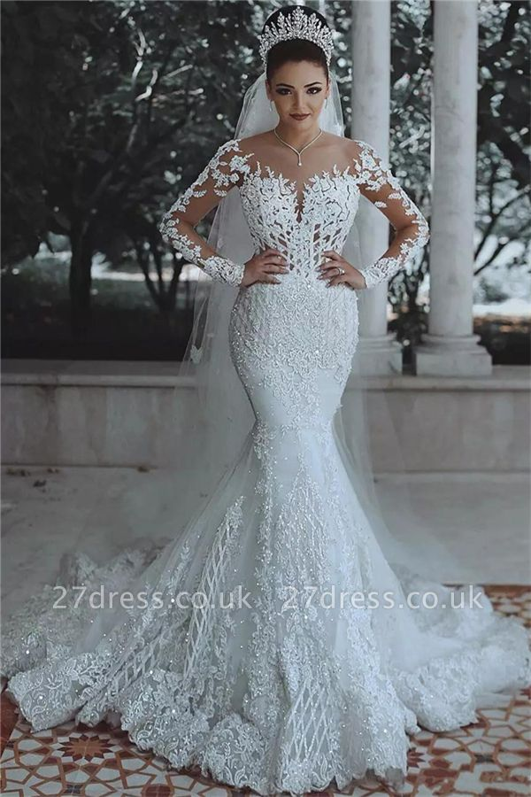 Glamorous Beaded Lace Sexy Mermaid Wedding Dresses UK with Sleeves Sheer Cheap Tulle Appliques Cheap Bride Dresses