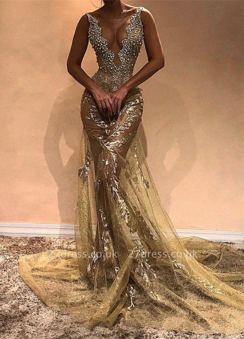 Gorgeous Beads Straps Sleeveless Mermaid Evening Gown | Long Evening Dress UK