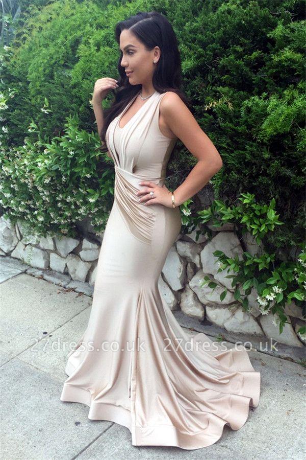 Designer Ruched Sleeveless Evening Dress UK Mermaid Floor Length BA3633