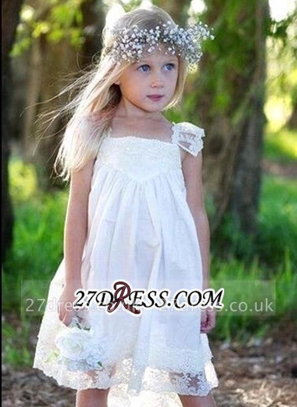 Back Cute Flower Crisscross Capped-Sleeves Girls Dresses