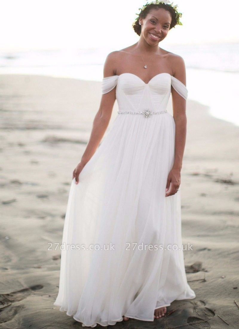 Newest White Off-the-shoulder  Wedding Dress With Beadss